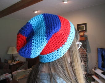 Crochet Blue & Red Slouch Beanie Hat