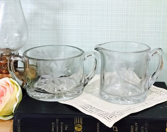 Vintage Etched Glass Cream and Sugar Set Floral with Star Pattern on Bottom