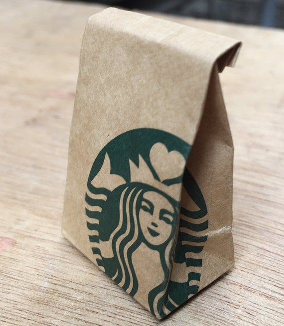 Miniature Starbucks Paper Bag,Miniature Bag,Dollhouse Starbucks,Dollhouse paper bag,Miniature Starbucks coffee,Dollhouse Starbucks coffee