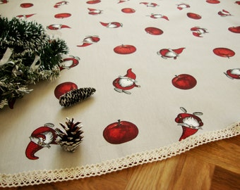 "CHRISTMAS TREE SKIRT 59"" Christmas Table Cloth Round Swedish design fabric Creative Tree Skirt with lace Scandinavian Christmas Decoration"