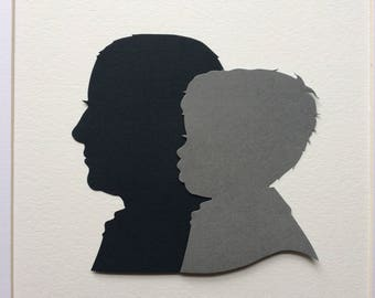 Father's Day Gift - Custom Silhouette Portraits. Custom Family Portrait