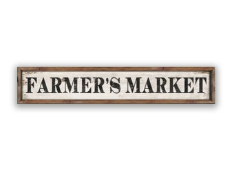 "Farmers Market  wooden sign  36""x7""x2"" kitchen signs farmer's market signs kitchen decor farmhouse signs custom signs farm signs"