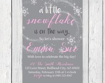 Snowflake Baby Shower Invite-***Digital File***  (Baby-snowflake)