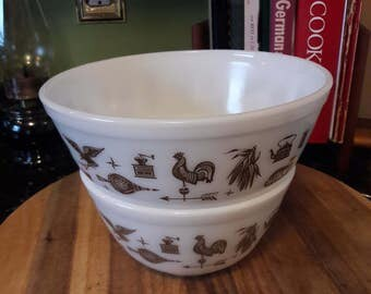 Vintage 1950's Pyrex Early American Pattern Nesting Mixing Bowls