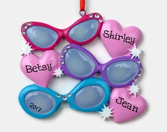 SHIPS FREE - 3 Pairs of Sunglasses Personalized Ornament - Family of Three - Hand Personalized Christmas Ornament