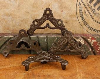 4 Vintage, Decorative, Wood Screen Door, Brown Iron, Corners. Item700b