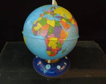 Metal Globe - FREE SHIP - Vintage The Blue Planet Tin Globe - Lithograph Ohio Art Planet Design Base