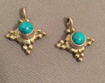 925 Sterling Silver Dangle with Turquoise Stone Cabochon, Set of Two (2)