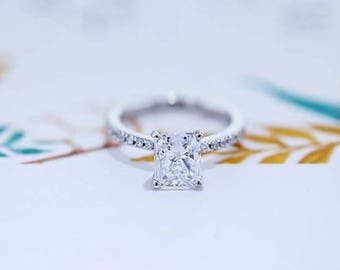 Diamond Engagement Ring 18K White Solid Gold 3.30 Carat Radiant Cut FREE SHIPPING