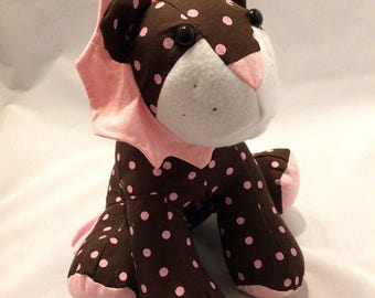 Brown and pink spotted stuffed lion/lion plush