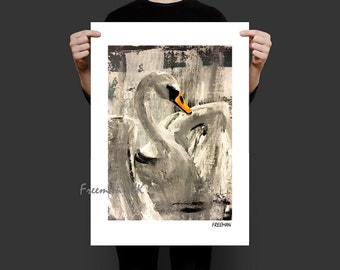 The Royal Swan,  Abstract fine art giclee print