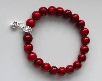 Elegant Red Coral Stretch Bracelet For Women Made With Semi Precious Gem Stone