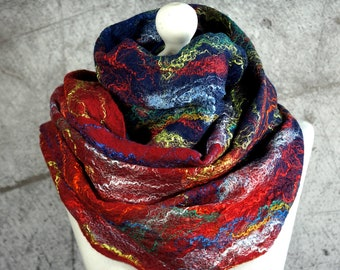 Felted   Scarf  Shawl, Cobweb,  merino wool, red, navy blue, orange, green, teal-Feltmondo