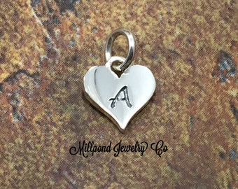Initial Charm, Letter Charm, A Charm, Letter A Charm, Heart Letter Charm, Alphabet Charm, Sterling Silver Charm
