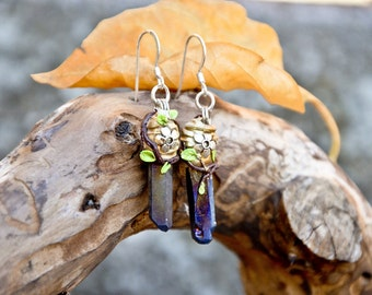 Bright shiny RAINBOW TITANIUM mineral crystal EARRINGS nature leaves flowers