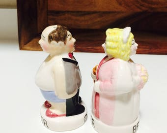 Clay Art Before and After Wedding Salt and Pepper Shakers, Bride and Groom Funny Gift