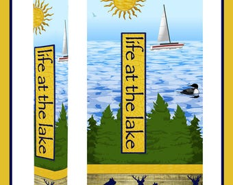 """Life at the Lake Garden Art Peace Pole with Solar Light 64"""""""