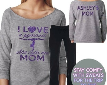 I Love a Gymnast Mom Sweat Set Gray