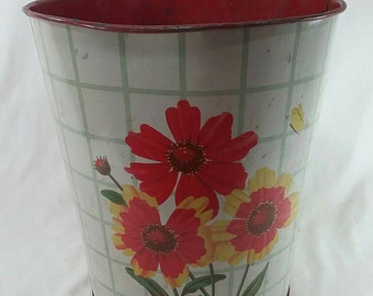 Vintage metal flower trash can retro
