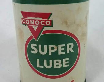 Vintage Conoco super lube 1 pound grease tin can oil and gas advertising