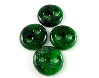 Art glass sewing buttons, emerald green,  knitting button, fastener, needlecraft supply