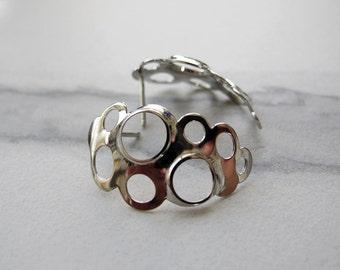 Geometric Silver Earrings, Bridal Silver Earrings, Post Earrings, Architectural Earrings, Statement Earrings, stunning Earrings