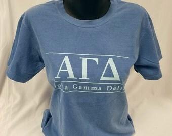 Alpha Gamma Delta Comfort Color Short Sleeve Tshirt, Flo Blue