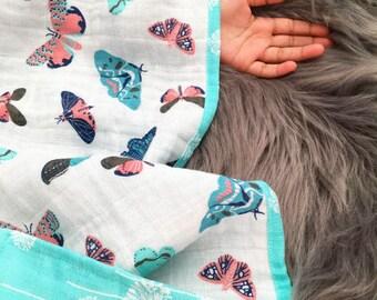 Butterfly muslin blanket, double gauze blanket, 4 Layers of muslin, cuddle blanket, muslin quilt, gauze blanket, stroller blanket