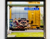 Train art coaster:  Passing through the Station - Train Graffiti. Individually photographed and hand made by Frank Heflin
