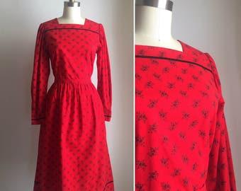 SUPER SALE vintage Lanz Originals dress M/L ~ 70s red cotton winter dress