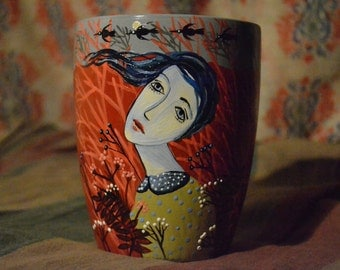 Cup, artcup, unique mug, ceramic mug, hand-painted mug, mug gift