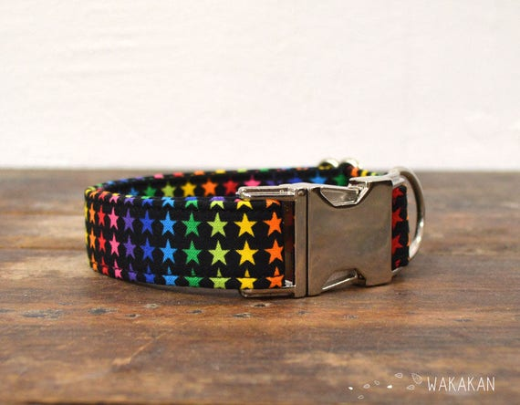 Superstar collar adjustable. Handmade with 100% cotton fabric. Colorful star, rainbow pattern Wakakan