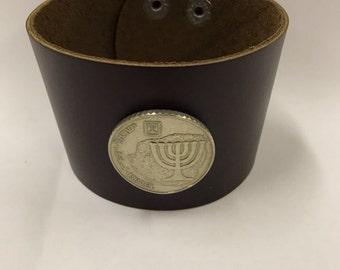 Israel 10 shekels Leather Cuff Coin Bracelet