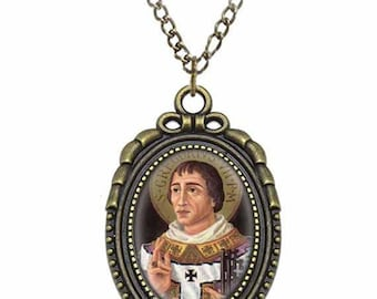 St Pope Gregory VII Catholic Necklace Bronze Medal w Chain Oval Pendant Saint Vintage