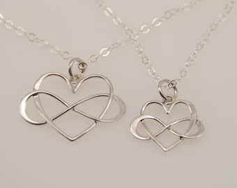 Mother Daughter infinity heart necklace set, Heart infinity necklace. Mother daughter necklace