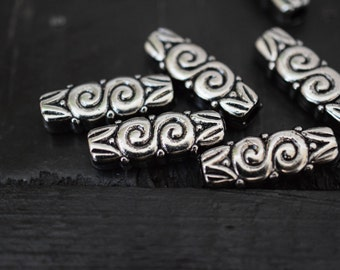 Vintage Antiqued Silver Lucite Tube Beads, 10pcs
