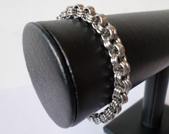 Stainless Steel Chainmail 3 in 6 Link Bracelet - Gothic Minimalist Chainmaille Jewelry
