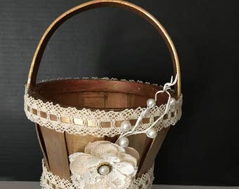 Gold/Ivory Flower Girl Basket