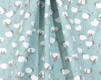 Farmhouse Fresh Blue & White Cotton Bolls Fabric by the Yard Designer Cotton Drapery Curtain Fabric or Upholstery Fabric Light Blue C333