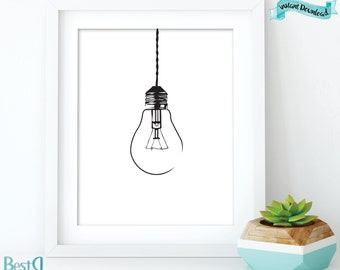 Light bulb print  Etsy