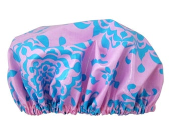 Luxury Shower Cap/ Shower Hat Laminated Cotton Blueberry Musk