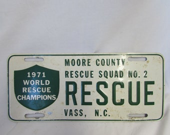 Car Plate, Moore County Rescue Squad No. 2, Vass, NC, 1971 World Rescue Champions