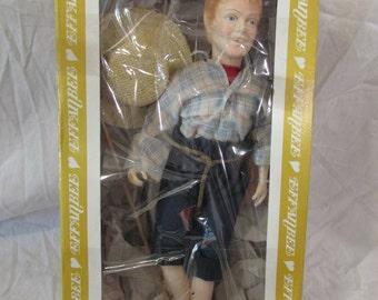 Doll, Huck Finn, Effanbee, Collectable, 1983, Original Box, Hat, Fishing Pole, USA