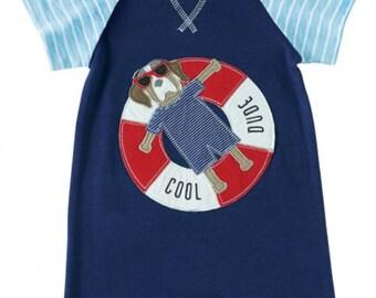 Puppy Float Raglan Shortalls by Mud Pie, romper, cute, boys, little boys, baby
