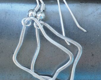 """Silver drop 'Forged Polygon"""" ear-rings"""