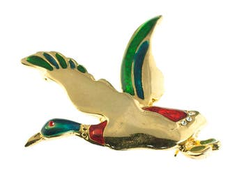Gold Plated Flying Duck Brooch