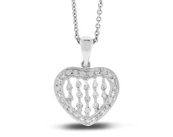 0.22 Ct. Natural Scattered Diamond Love Heart Pendant In Solid 14k White Gold