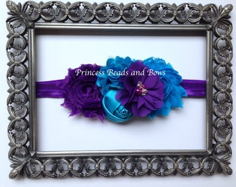 Shades of Purple and Turquoise Floral Headband, Shabby Chic Flower Headband,  Baby Headband, Girls Headband, Newborn Headband
