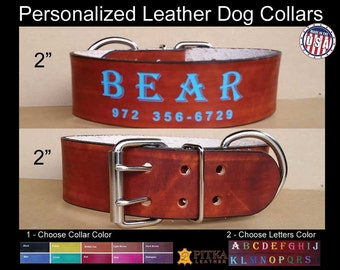 Big Dog Collars - 2 inch wide Collars - Leather Collar for Big Dog - Custom Made Dog Collars Laser Engraved - Unique Dog Collars made in USA
