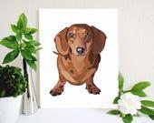 Red Dachshund Art Print, Doxie Art, Dachshund Decor, Doxie Decor, Dog Art, Dachshund, Wiener Dog, Dog Wall Art, Dog Lover Gift, Dog Decor